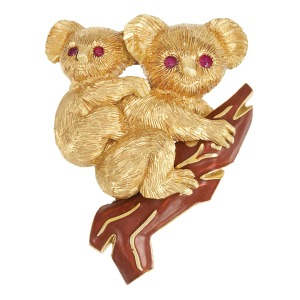 Lot-218-Gold-Ruby-and-Enamel-Koala-Bear-Clip-Brooch-Cartier-France