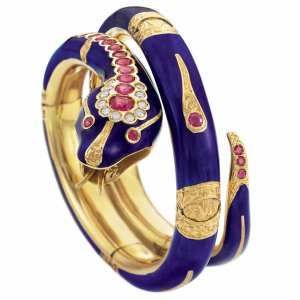 Lot-256-Gold-Blue-Enamel-Ruby-and-Diamond-Snake-Bangle-Bracelet