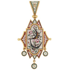 Lot-262-Antique-Gold-and-Micromosaic-Pendant