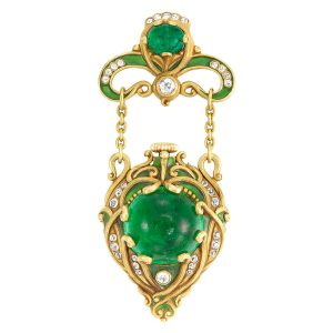 Lot-279-Arts-and-Crafts-Gold-Cabochon-Emerald-Diamond-and-Green-Enamel-Lapel-Watch-Marcus-Co.