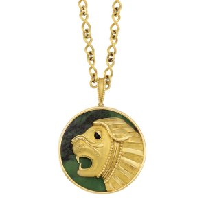 Lot-300-Gold-Nephrite-and-Black-Onyx-Lion-Pendant-Mauboussin-Paris-with-Gold-Chain